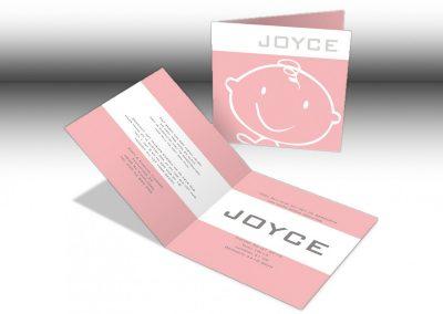 Geboorte kaartje Joyce